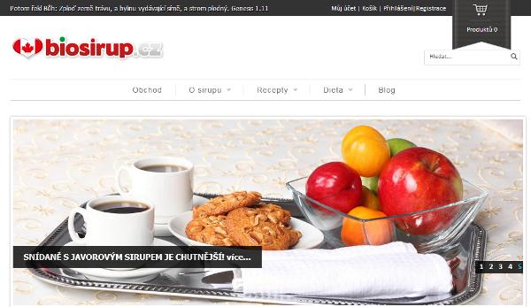 E-commerce website Biosirup.cz