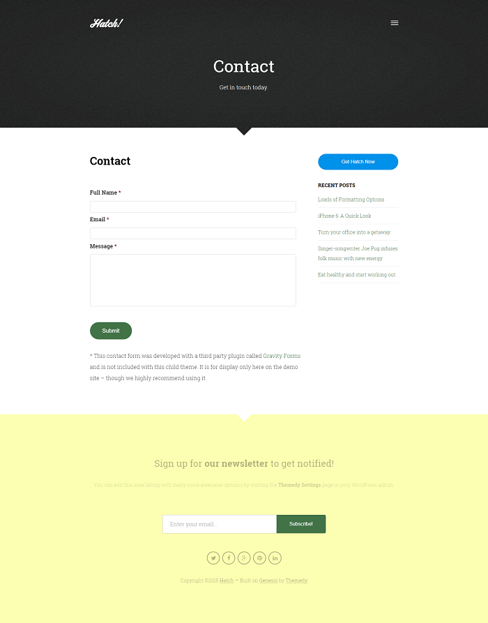 Hatch: contact page